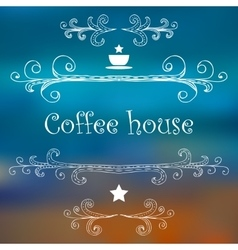 Vintage Coffee House card with monograms and vector