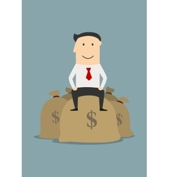 Wealthy businessman sitting on money bags vector image