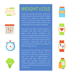 Weight loss poster icons set vector