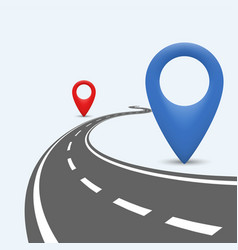 Winding road path with location pointer vector