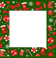 Winter holiday frame with santa stockings border vector