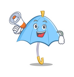 With megaphone blue umbrella character cartoon vector