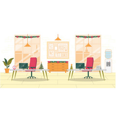 Workplace interior office decorated for christmas vector
