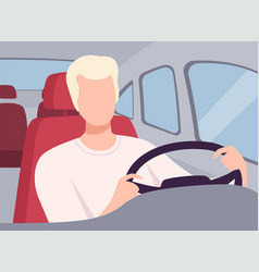 Young man driving a car view from inside vector