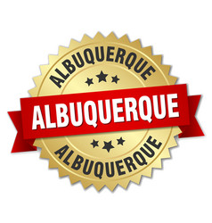 albuquerque round golden badge with red ribbon vector image vector image