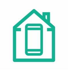 logo combination of a house and phone vector image