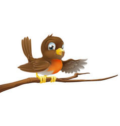 robin bird on branch pointing vector image vector image