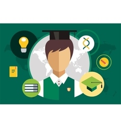 Student silhouette and education objects vector image