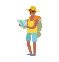cheerful man standing with traveling backpack and vector image