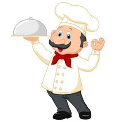 Chef cartoon holding platter vector image vector image