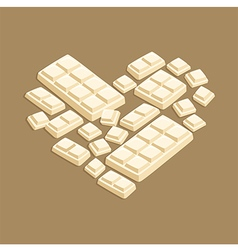 Heart White Chocolate Bar Valentines Day vector image