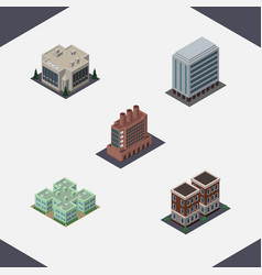 isometric building set of company industry house vector image vector image