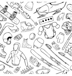 winter sport accessories - seamless pattern vector image vector image