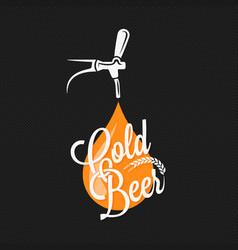beer tap label design background vector image