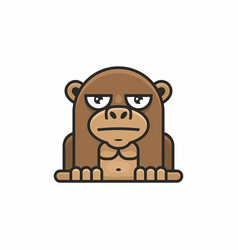 cute monkey icon on white background vector image