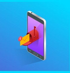 isometric letter and mailbox flying out of phone vector image vector image