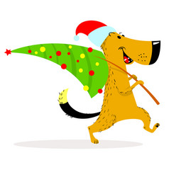 new year dog character a cheerful dog carries a vector image vector image