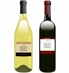 vintage wine in bottles vector image vector image