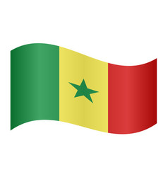 flag of senegal waving on white background vector image vector image