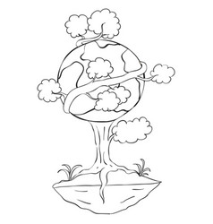 Hand draw tree world for earth day vector