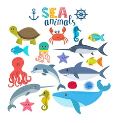 set of sea creatures Cute cartoon animals vector image
