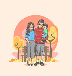 a harmonious family enjoying a vacation vector image