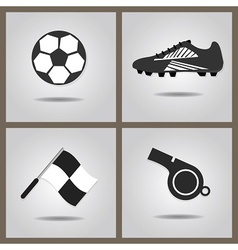 abstract isolated soccer icons set vector image