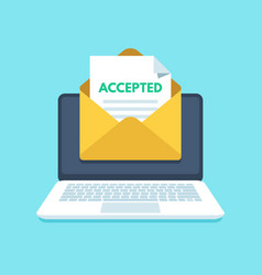 Accepted email in envelope college acceptance vector