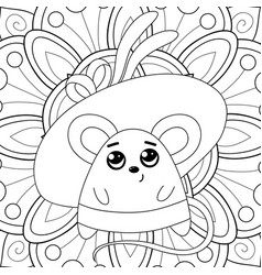Adult coloring bookpage a kawaii mouse vector