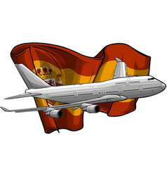 airplane with spanish flag vector image
