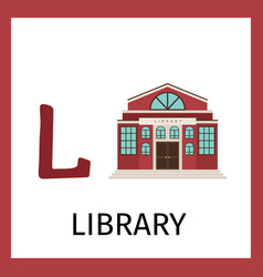 Alphabet card with library building vector