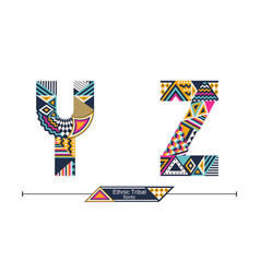 Alphabet ethnic tribal style in a set yz vector