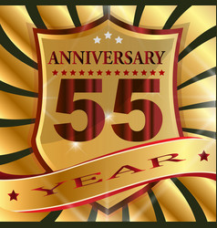 Anniversary 55 th label with ribbon vector