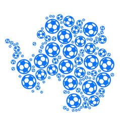 Antarctica map collage of football balls vector