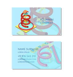 aquapark company business card template vector image