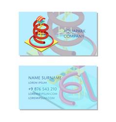 Aquapark company business card template vector