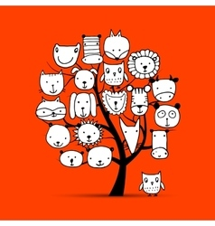 Art tree with animal faces sketch for your design vector