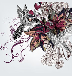 background with lily flowers and birds vector image