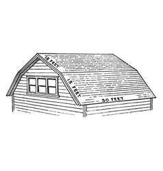 Barn roof steep vintage engraving vector