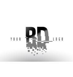 Bd b d pixel letter logo with digital shattered vector