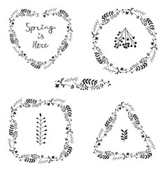 beautiful set of black floral spring wreaths vector image