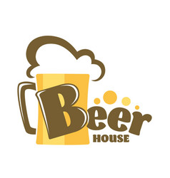 beer house isolated icon mug with foam craft drink vector image