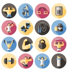 Bodybuilding Flat Icons Set vector