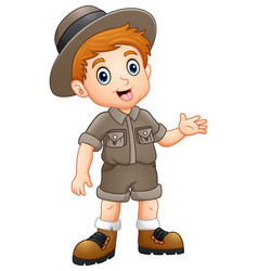 Boy explorer waving vector