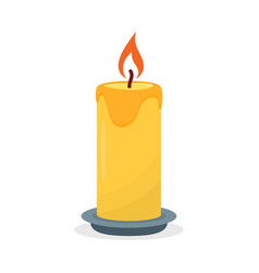 burning candle isolated on a white background vector image