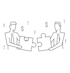 businessmen join puzzle portrait view linear vector image