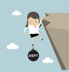 businesswoman hold on the cliff with debt burden vector image