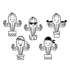 Cactus show muscle biceps set printable cartoon vector