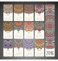 Calendar with mandalas vector image