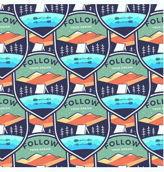 camping adventure badges pattern mountain vector image